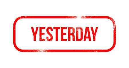 yesterday - red grunge rubber, stamp Reklamní fotografie