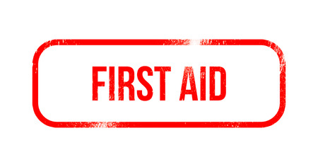 first aid - red grunge rubber, stamp