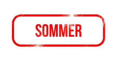 Sommer - red grunge rubber, stamp