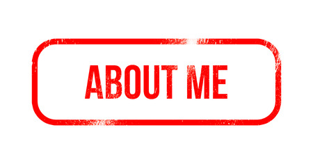 about me - red grunge rubber, stamp