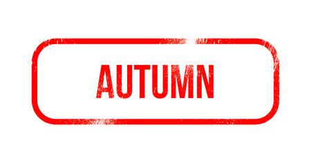 Autumn - red grunge rubber, stamp