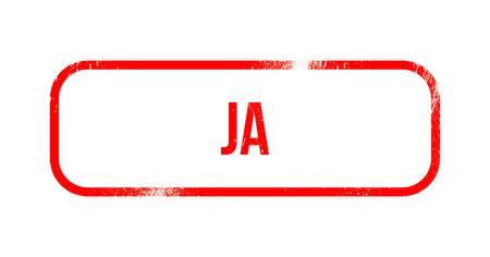 ja - red grunge rubber, stamp Stock Photo