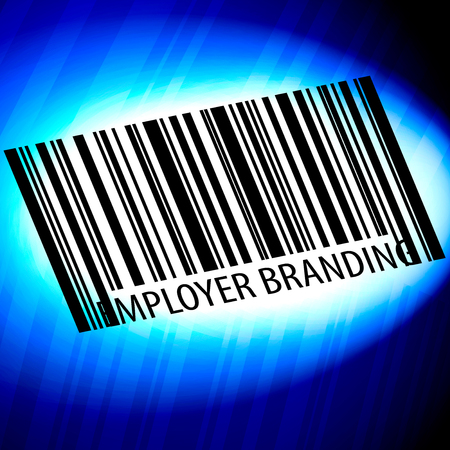 Employer branding - barcode with blue Background Imagens