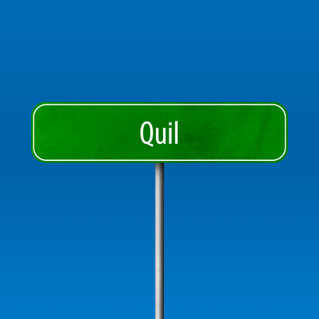 Quil - town sign, place name sign