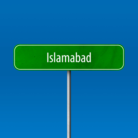 Islamabad - town sign, place name sign