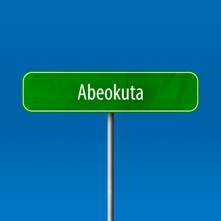 Abeokuta - town sign, place name sign Standard-Bild - 102342479