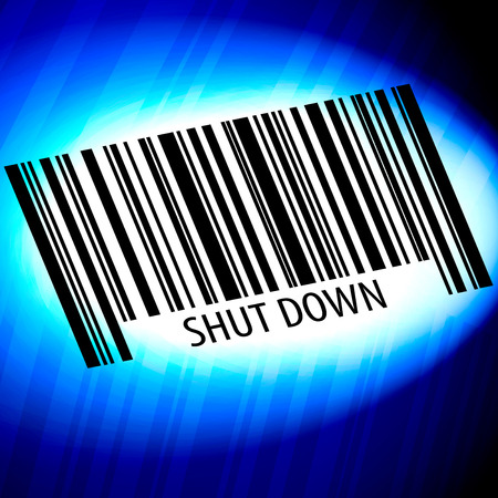 Shut Down - barcode with blue Background