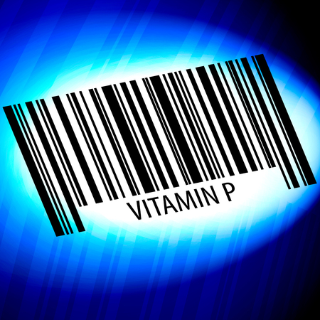 Vitamin P - barcode with blue Background
