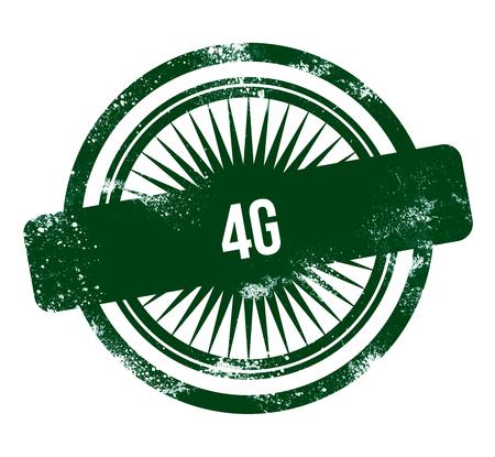 4G - green grunge stamp Stock Photo