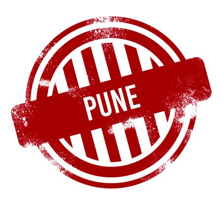 Pune - Red grunge button, stamp