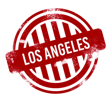 Los Angeles - Red grunge button, stamp Reklamní fotografie