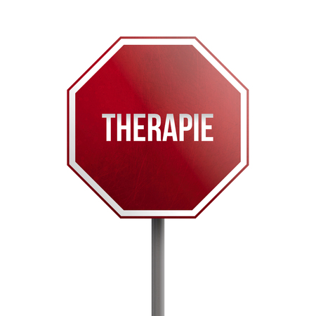 therapie - red sign isolated on white background