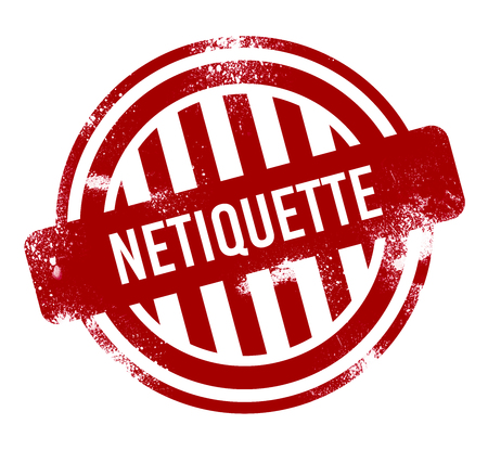 Netiquette - red grunge button, stamp Standard-Bild
