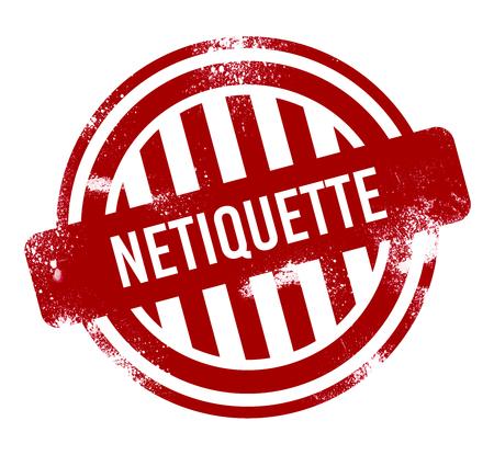 Netiquette - red grunge button, stamp Standard-Bild