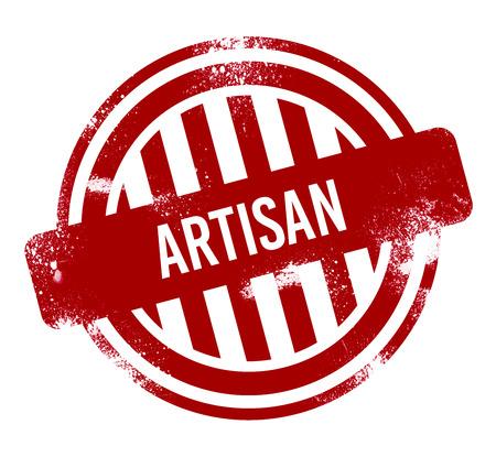 Artisan - red grunge button, stamp
