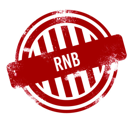 RnB - red grunge button, stamp Stock Photo