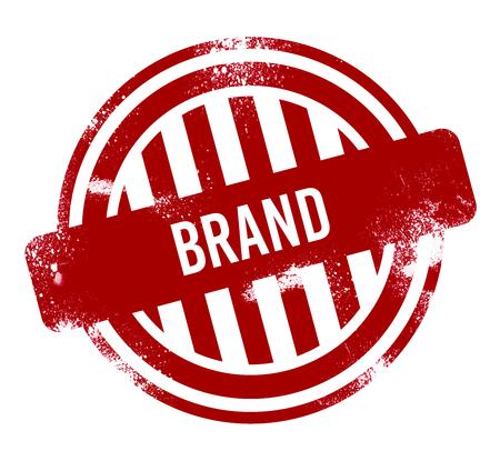 Brand - red grunge button, stamp