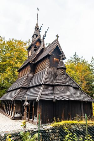 Stabkirche Fantoft, Norwegian wooden church near Bergen, Norway Stock fotó