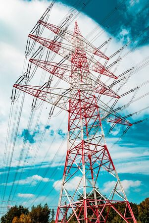 A red white pylon during summertime on a low angle at daylight, Darmstadt, germany Imagens - 131794918
