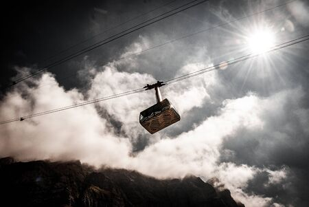 The cable car, Saentis, Switzerland Imagens