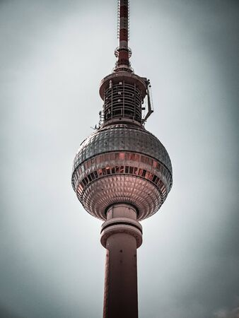 The Berlin Television Tower, low angle Stock Photo