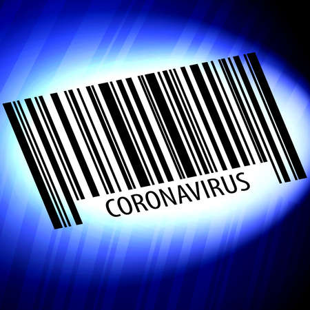 coronavirus barcode with blue background Stock fotó