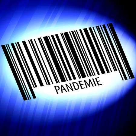 pandemic barcode with blue background