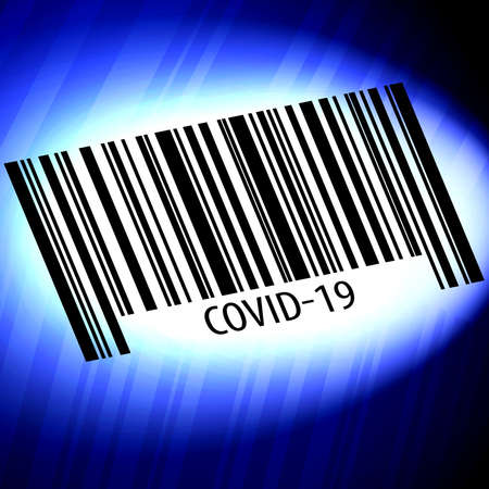 covid-19 barcode with blue background Stock fotó