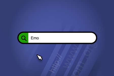 Emo - search engine, search bar with blue background