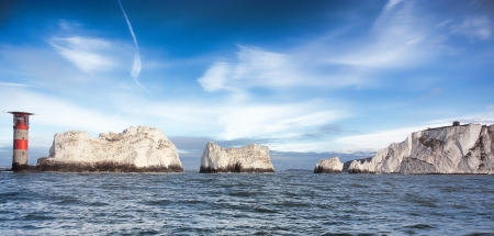 panoramatic: Panoramatic view of the rock with lighthouse, The Needles, Isle Of Wight, South Hampton, Great Britain