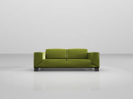 davenport: A illustration of a green sofa in a white room