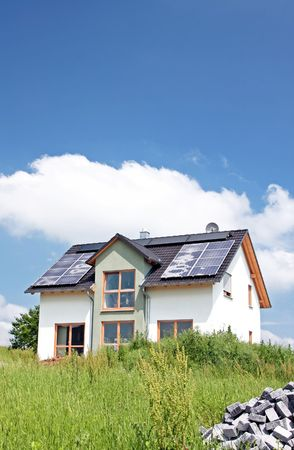 A Photograph of a solar panel on the roof Stock Photo - 3189386