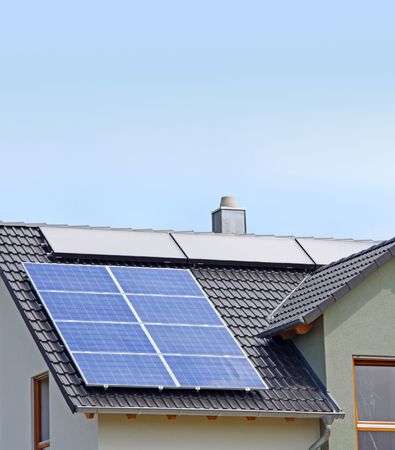 A Photograph of a solar panel on the roof Stock Photo - 3189373