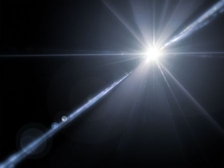 blue ray: An illustration of a powerful lens flare Stock Photo