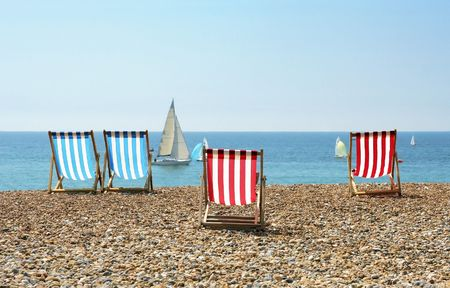 A photography of the Brighton sunchairs