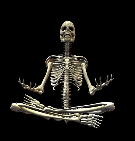 tantra: An illustration of a skeleton isolated on a black background Stock Photo