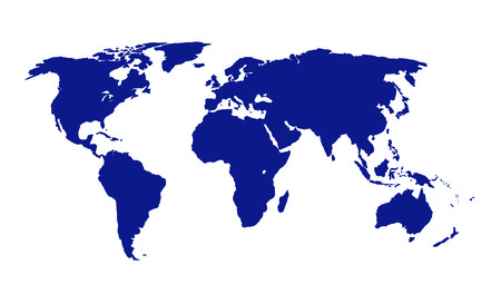 A vector illustration of the world map in blue Vector
