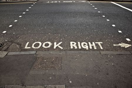 look at right: look right sign in London