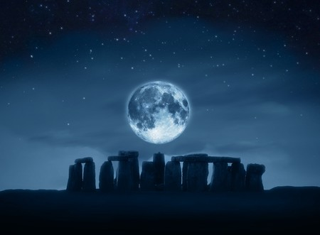 A photography of the stonehenge by full moon Stock Photo
