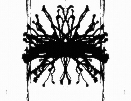 An illustration of a black and white Rorschach graphic Stock Photo