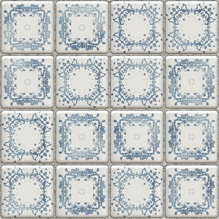 An illustration of a seamless texture Delft tiles illustration