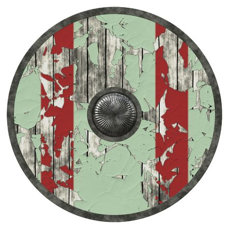 crusades: An illustration of a nice viking shield texture Stock Photo
