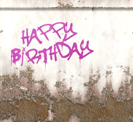 An illustration of a happy birthday graffiti on a rusty metal plate