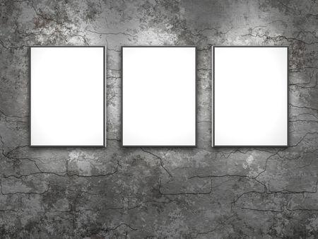 An illustration of 3 blank canvas frames on a grunge brick wall illustration