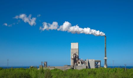 A photography of a cement plant under a blue sky Stock Photo - 4889126