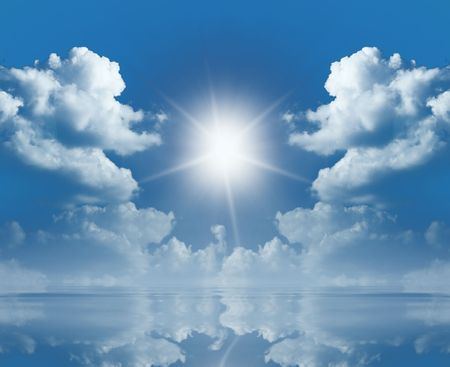 A photography of a sky and sun reflecting in the sea Stock Photo - 4902063