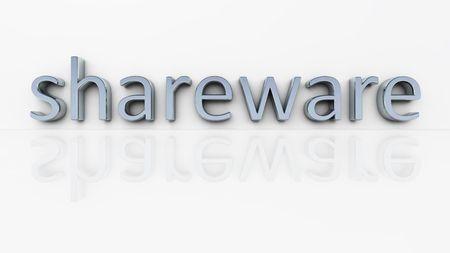 shareware: An illustration of the chrome word shareware Stock Photo