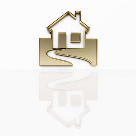 An illustration of a house in gold Stock Illustration - 5100154
