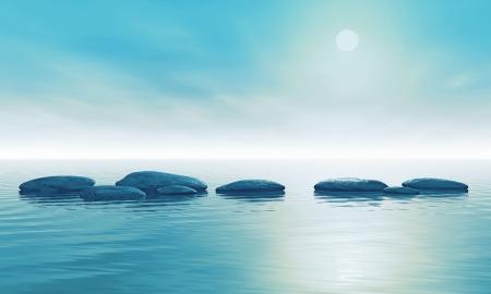 水の飛び石のイラスト 写真素材