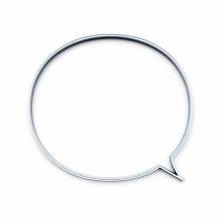 An illustration of a speech bubble in chrome Stock Photo